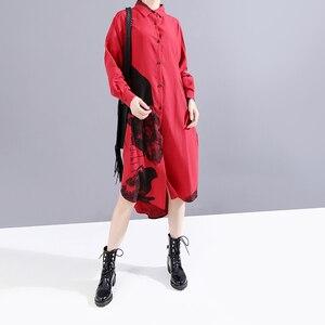 Image 2 - * New 2019 Korean Women Winter Red Printed Shirt Dress Full Sleeve Lapel Ladies Knee Length Casual Dress Midi Style Robe 5818