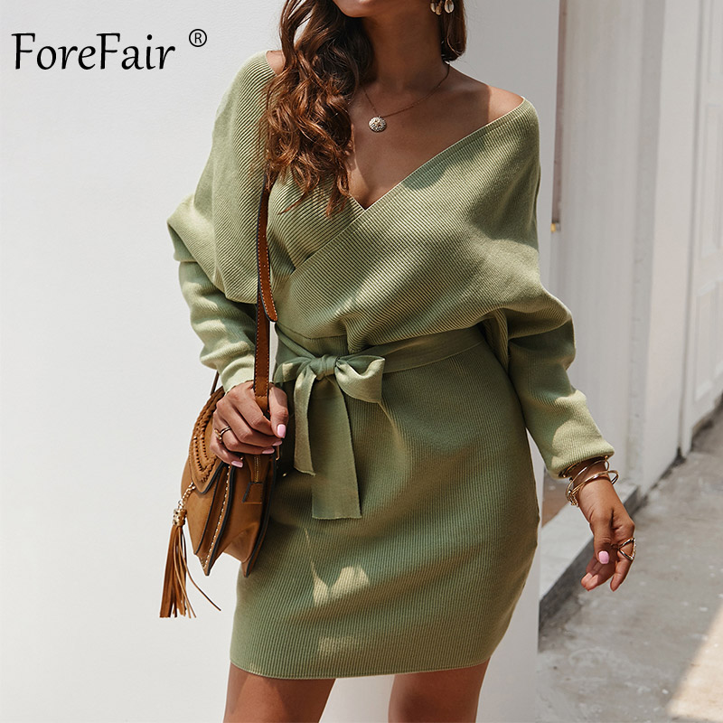 Forefair Sexy Bodycon Wrap Sweater Dress Women Autumn 2019 Long Sleeve Sashes Tied Mini Casual Cotton Knitted Winter Dress