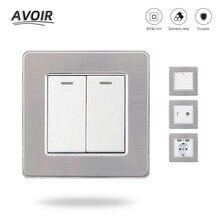 Avoir-Interruptor de luz de 1, 2, 3, 4 entradas, 1 y 2 vías, enchufe europeo, FR, USB, caja de montaje, lámpara de Panel de acero inoxidable