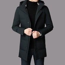 Высококачественная Мужская зимняя длинная пуховая куртка на белом утином пуху, Толстая теплая верхняя одежда, мужское пуховое пальто, мужские пуховые куртки с капюшоном