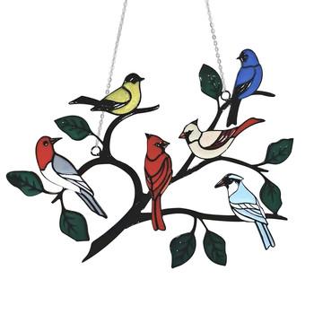 Wielokolorowe ptaki na drucie wysoki witraż Panel okienny Suncatcher tanie i dobre opinie CN (pochodzenie) 5214AA