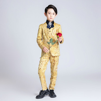 YuanLu New 2019 Boys Suits For Party Wedding Yellow Flower Blazer Jacket Kids Suits Toddler Clothes Silm Fit For Children