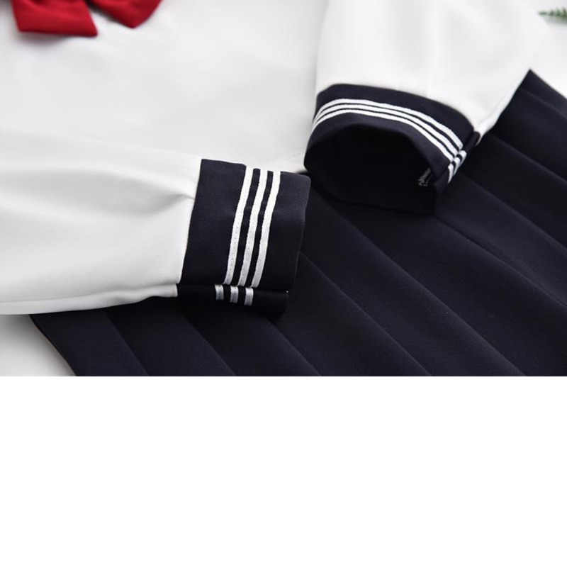 Kawaii crianças uniforme da menina do ensino médio graduação vestido harajuku azul saia plissada estudante branco conjunto cómico cosplay marinheiro terno