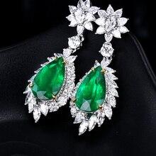 Female Crystal Water Drop Stone Dangle Earrings Bright  Wedding Green Zircon Long Drop Earrings For Women Z3D430 недорого