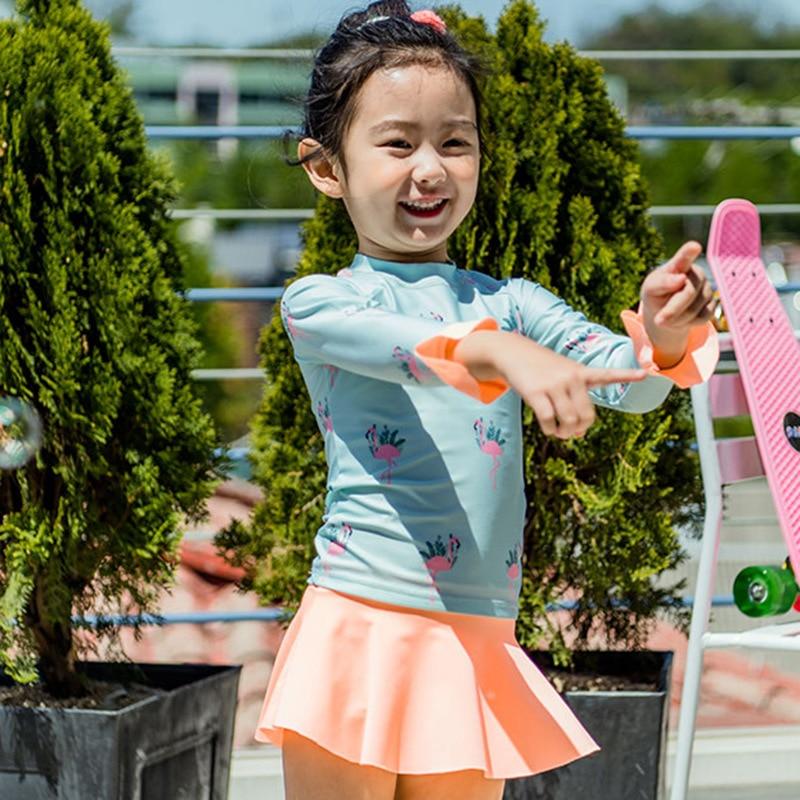 2019 New Style Children's Swimsuit GIRL'S Girls Long Sleeve Sunscreen Baby Orange Flamingo Swimsuit