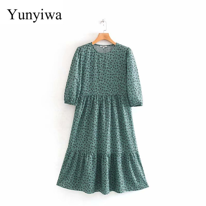 Women Elegant O Neck Floral Vestidos Print Pleats Midi Dress Female Sweet Three Quarter Sleeve Casual Slim Party Dresses