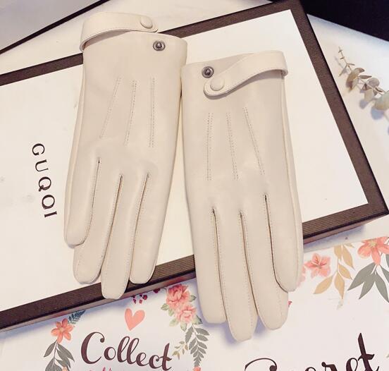 Women Autumn Winter Thicken Warm Fleece Lining Glove Female Natural Sheepskin Leather Touchscreen Brief Driving Glove R2651
