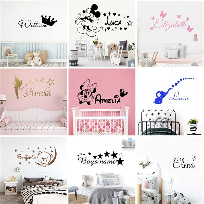 Cartoon Personalized Custom Name Mickey Mouse Wall Sticker Decals Murals Poster For Kids Babys Room Decoration Bedroom Decor