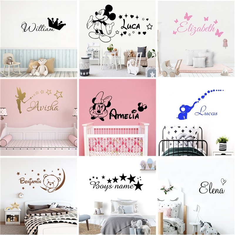 Cartoon Personalized Custom Name Mickey Mouse Wall Sticker Decals Murals Poster For Kids Babys Room Decoration Bedroom Decor-in Wall Stickers from Home & Garden