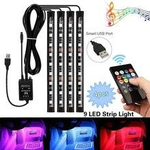 цена на SMD 5050 36LEDS Remote Control RGB Atmosphere LED Strip Light/ Remote Voice Control/ DC12V 6W Car Interior Floor Luces LED