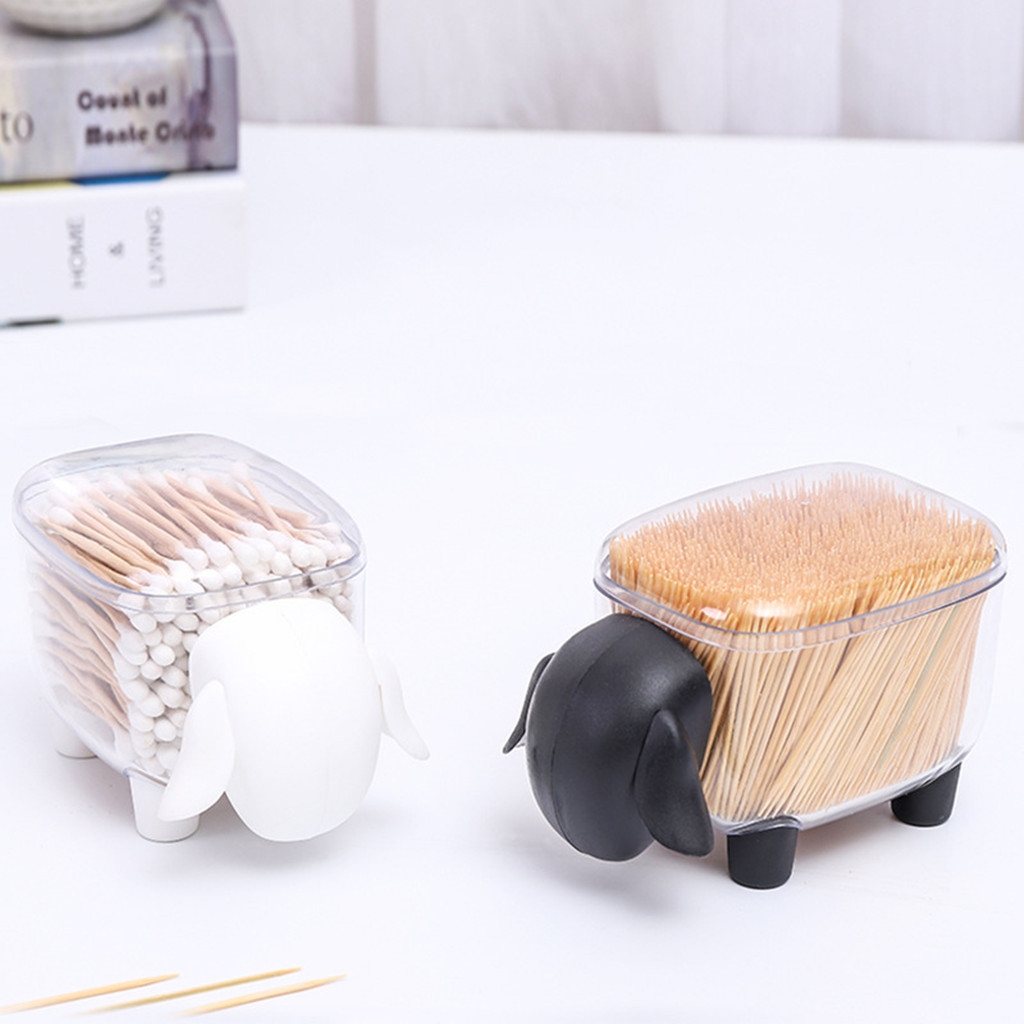 25# Creative Cute Dustproof Transparent Sheep Shaped Storage Tank Plastic Desktop Storage Box Toothpick Swab Paper Clips Storage Boxes & Bins    - AliExpress