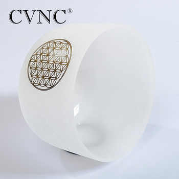 "CVNC 8"" Note C /D/E/F/G/A/B Chakra Frosted Quartz Crystal Singing Bowl with Flower of life"