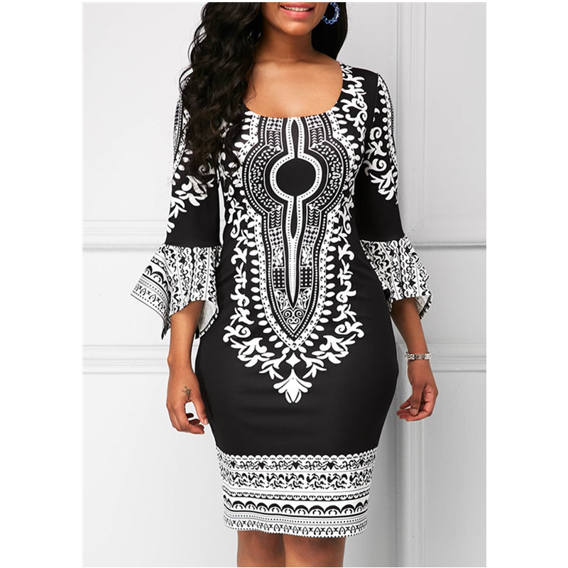 2019 New Sexy Fashion African Women Printing Plus Size Dress