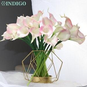 Акция Индиго 9 шт./лот мини размер искусственная Калла Лилия настоящий сенсорный декоративный цветок искусственный цветок для свадебной ве...