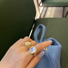 Bague d'amour en forme de cœur marguerite pour femmes et hommes, en émail doré, grosses et glacées, baguette Yin Yang Tai Chi, anneau de doigt, bijoux tendance, offre spéciale, 2021
