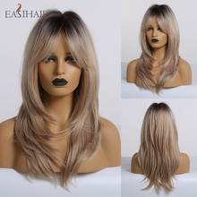EASIHAIR Black to Blonde Omber Wig with Bangs Synthetic Wigs for Women Heat Resistant Cosplay Wig Medium Length High Temperature