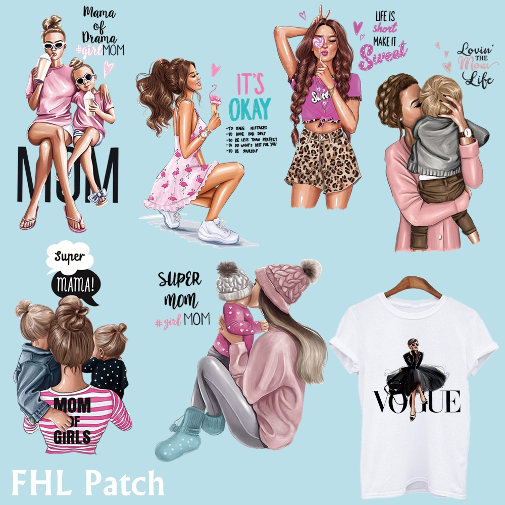 Baby Patch T-Shirt Thermo-Transfer-Sticker Clothing Diy Mom Vogue-Girl Fashion Iron-On