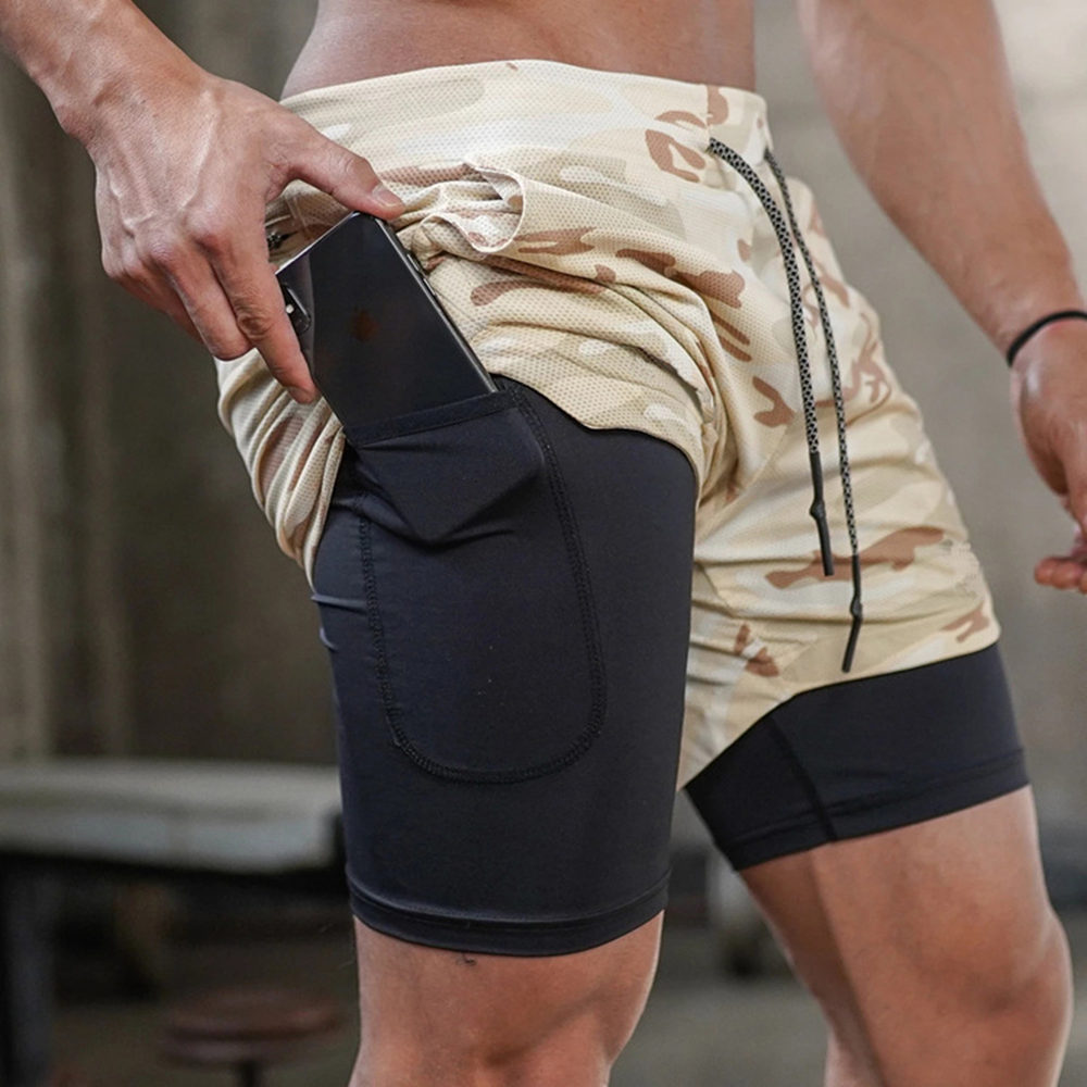 Camo Double Deck Running Shorts Built-in Pocket Men Gym Fitness Bermuda 2 In 1 Quick Dry Sport Short Pants Male Summer Bottoms