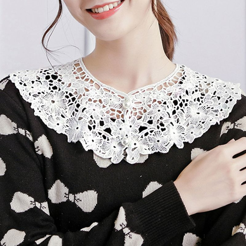 Sweet O-Neck Doll Fake Collar Women Hollow Crochet Floral Lace Half Shirt Faux Pearl Button Decorative Sweater Shawl