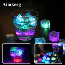 12Pcs Novelty Ice Cubes Lamp LED Luminous Ice Cube Night Light Light-Up Bar Wedding Cup Decor Lamps New Glow Party Supplies