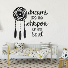 Dreamcatcher Vinyl Art Sticker Dreams Whispers of the Soul Silhouette Wall Decal Removable Bedroom Decor WL1732 day of the dead girl skull head vinyl wall decal sticker