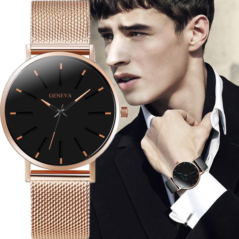 Men's Stainless Steel Watch Simple Mesh Band Classic Quartz Watch Masculino Relogio Date Wristwatch Casual Luxury Reloj Saati