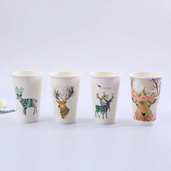 50pcs High quality creative Chirstmas cup 16oz 500ml disposable coffee cup party birthday favor cartoon paper cups with lids