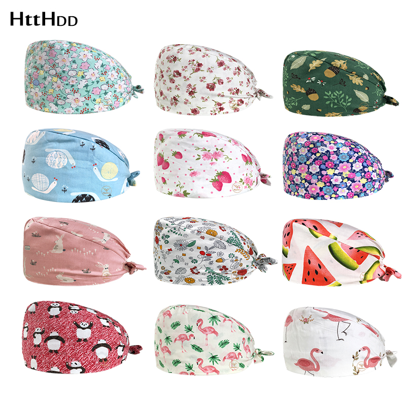 Flower Printed Surgical Caps Women And Men Pure Cotton Nursing Hat Hospital Medical Adjustable Tieback Elastic Pharmacist Hat