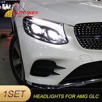 Car Styling For Mercedes Benz AMG GLC 2017 2019 led car lights Angel eyes ALL LED KIT Fog lights LED Daytime Running Lights