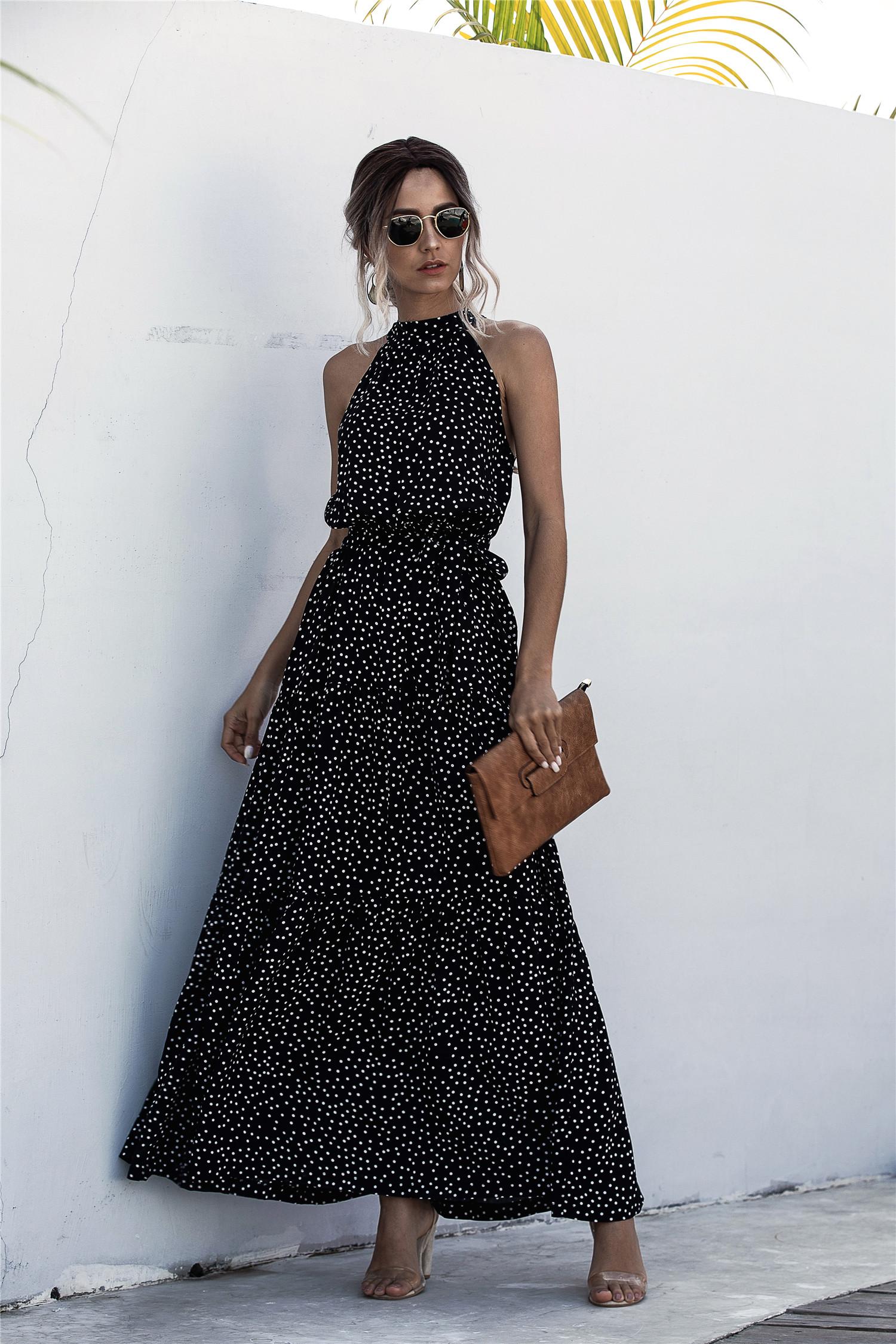 2020 Summer Long Dress Polka Dot Casual Midi Dresses Black Halter Strapless Yellow Sundress Vacation Dress Clothes For Women