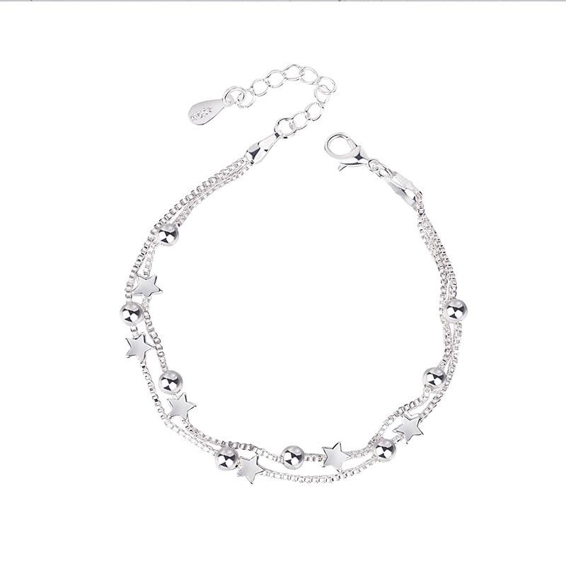 DAIWUJAN 925 Sterling Silver Bracelets Double Layered Stars Beads Chian Bracelets Bangles For Women Girls Wedding