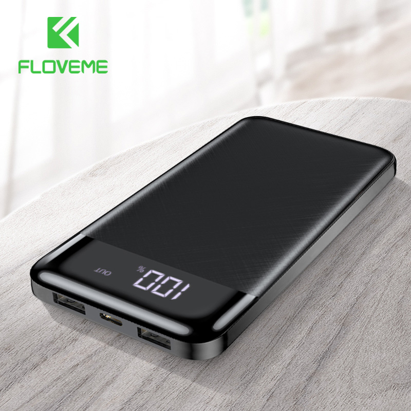FLOVEME 10000mAh Power Bank Portable Fast Charging Slim Powerbank External Battery Pack Dual USB Charger For IPhone Mobile Phone