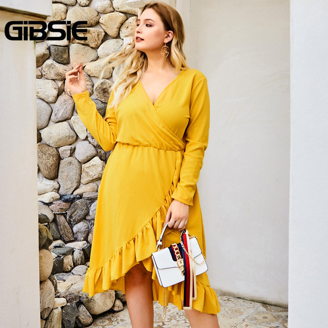 GIBSIE Wrap V-neck Tunic Midi Dresses Women Elegant Asymmetrical Ruffle Dress 2019 Autumn Long Sleeve High Waist Office Dress 1