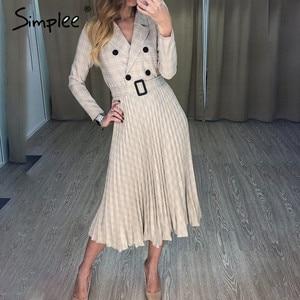 Image 1 - Simplee Vintage pleated belt plaid dress women Elegant office ladies blazer dresses Long sleeve female autumn midi party dress