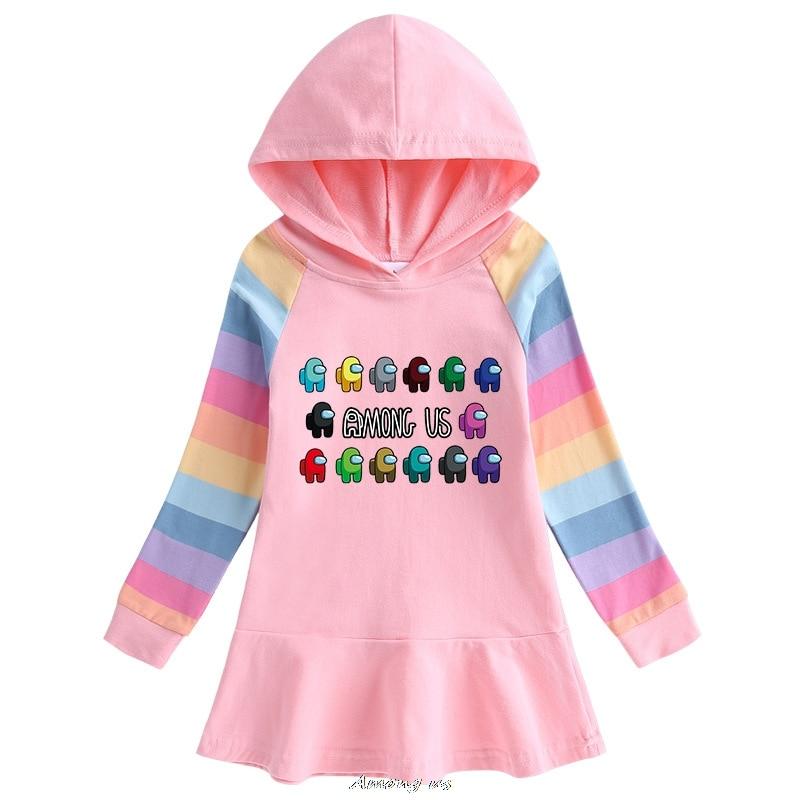 Among us Hooded Dresses for Girl Clothes Cotton Princess Dress Kids Dresses Children Clothing Girls Autumn Dress 4