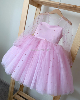Toddler Baby Girl Tulle Flower Dress Party Gown Bridesmaid Kids Dress Christmas Party Beading Dress Photography Props 1-6Y