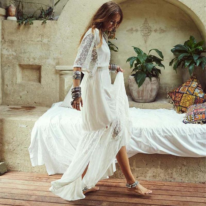 Crochet White Knitted Beach Cover up dress Tunic Long Pareos Bikinis Cover ups Swim Cover up Robe Plage Beachwear 7