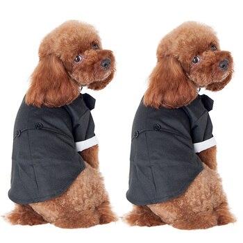 2018 nueva chaqueta pequeña para mascotas, perro, ropa, esmoquin del príncipe, lindo traje de pajarita, disfraz de cachorro, mono, abrigo Y