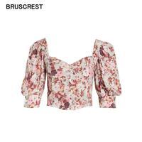 Vintage blouse women floral chiffon shirt streetwear ladies tops ruffle pink blouse elegant long sleeve white blusas