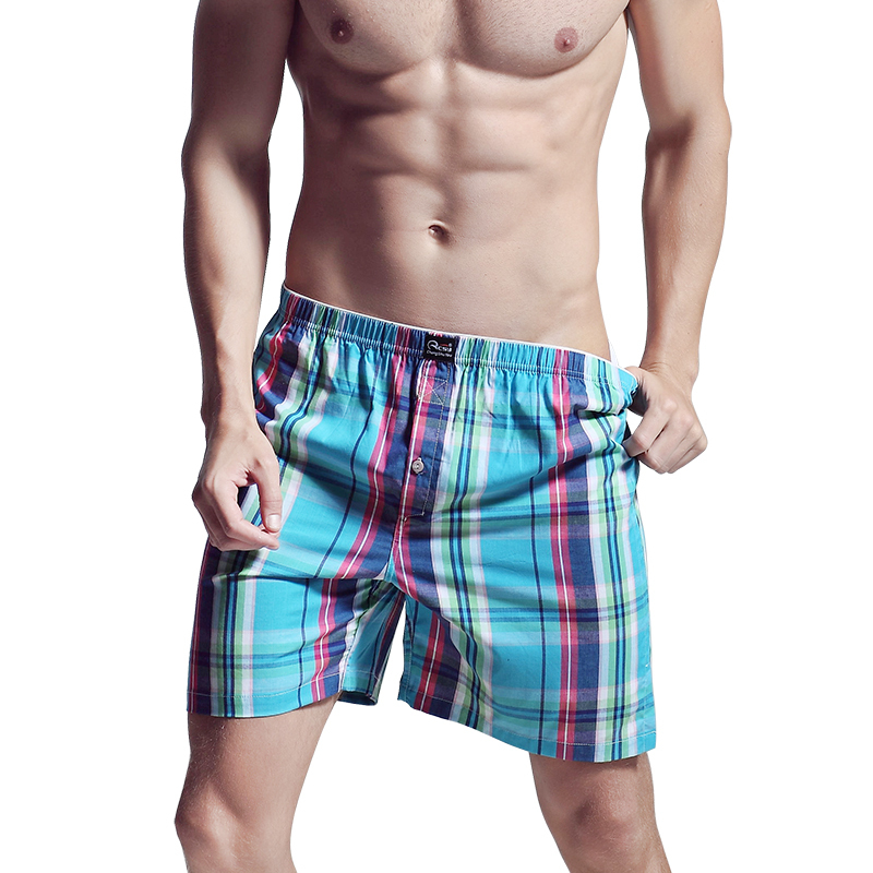 Plaid Men Underwear Sleepwear Cotton Loose Shorts Men Panties Boxers Underwear Classic Basics Men's Pajamas Pyjamas Y8011