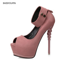 Women Shoes Fashion Pumps Peep-toe New Summer Spring 14cm High Heels Platform(5cm) Flock Ladies Sexy Ladies Club Female Shoes 2017 brand new european vintage pumps shoes for woman ds162 flock square toe straps sexy female ladies pumps shoes