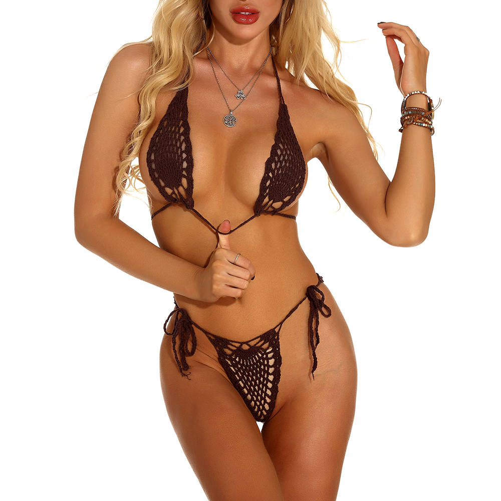 Handmade Crochet Micro Bikini Set Sexy Black Lingerie Set Mini Bikini Sunbathing Micro Swimwear More Colors 2019 Hot Sale