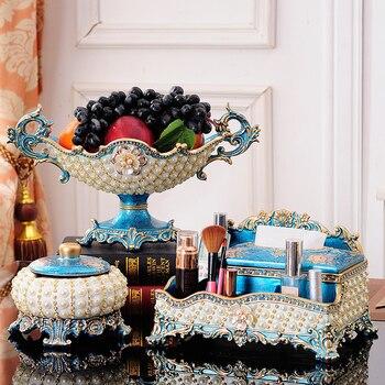 European towel box 3pcs set high grade paper box for living room tea table decoration set of American luxury home Fruit plate