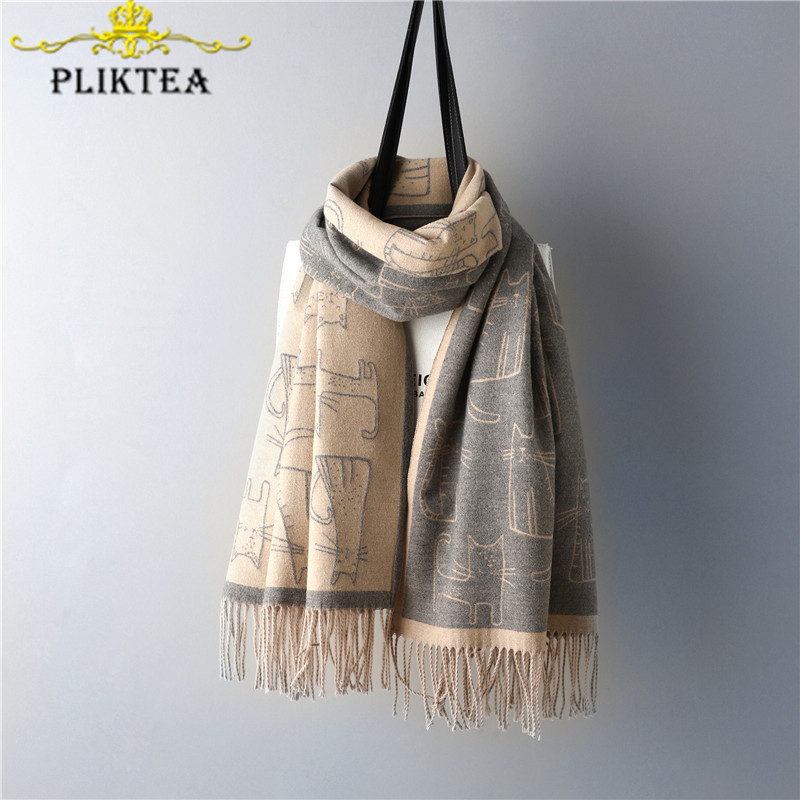 Ins Fashion Cute Cartoon Animal Cat Scarf For Women Cat Shawl High Quality Faux Cashmere Female Winter Scarves Khaki Gray Shawl