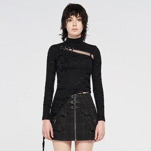 Image 4 - PUNK RAVE Steampunk col haut masque femme T shirts Stretch tricot couture élastique maille tissu hauts noirs Punk Rock T shirts gothique