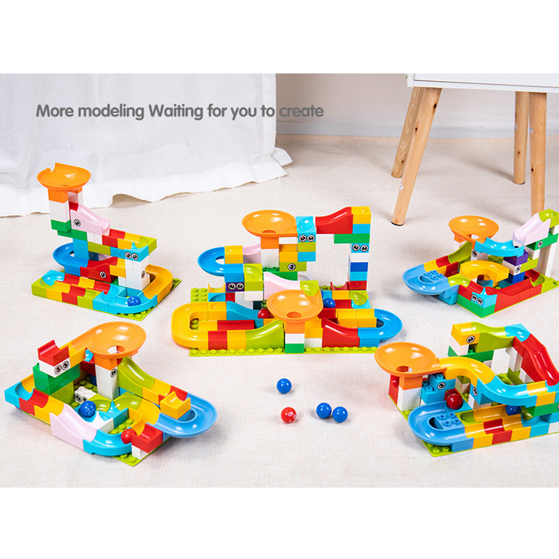 Image 4 - 52 156 pieces educational toys for children Marble construction race maze balls track building blocks large particle assembly bl-in Interconnecting Blocks from Toys & Hobbies