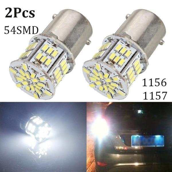 2 шт. светодиодные Сменные лампы для автомобилей 1156 BA15S P21W 3014 54SMD хвост светильник поворотники светильник DC12-24V автомобильный светильник исто...