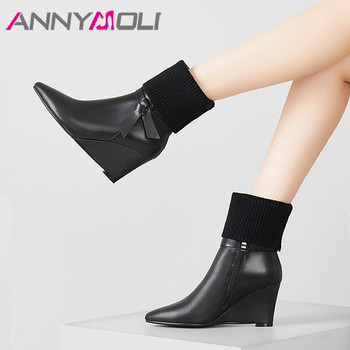 ANNYMOLI Winter Ankle Boots Women Natural Genuine Leather Wedge High Heels Short Boots Zip Pointed Toe Shoes Female Big Size 42