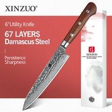XINZUO 6 inç maket bıçağı japon şam çelik vg10 mutfak bıçakları profesyonel el yapımı şef soyma bıçağı gülağacı kolu