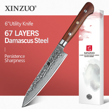 XINZUO cuchillo de utilidad japonés de acero damasco vg10, 6 pulgadas, cuchillos de cocina profesionales hechos a mano, cuchillo pelador de Chef, mango de palisandro